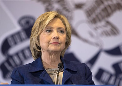 Democratic presidential candidate Hillary Rodham Clinton listens to a question from the media following an organizing event at the University of Northern Iowa, Monday, Sept. 14, 2015, in Cedar Falls, Iowa. (AP Photo/Scott Morgan)