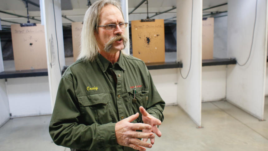 Craig Roe, an instructor for concealed weapons permits for North Dakota, Minnesota and Utah, speaks Thursday, Jan. 14, 2016, at the Red River Regional Marksmanship Center in West Fargo. Michael Vosburg / Forum Photo Editor